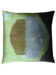 Thai Silk Modern Ikat Pillow Celadon Rothko