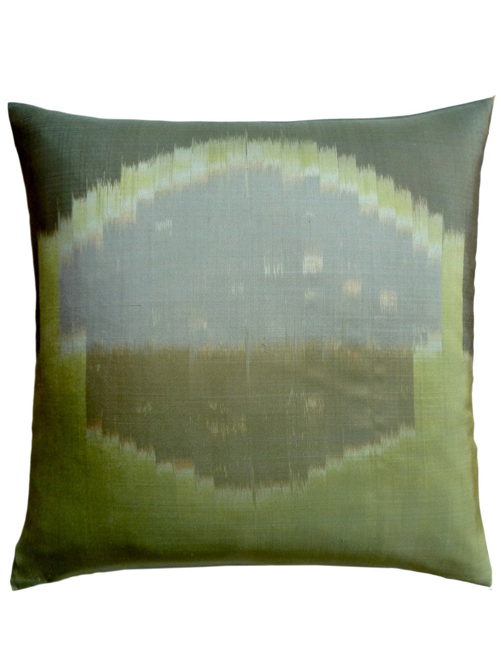 Thai Silk Modern Ikat Pillow Celadon Rothko 2
