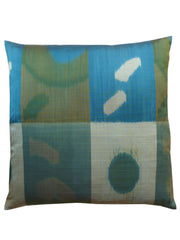 Thai Silk Modern Ikat Pillow Teal Grey Green