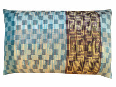 Thai Silk Modern Ikat King Size Pillows  Sold As Pair Aqua Pink