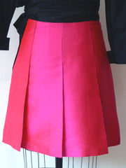 Pleated Cocktail Skirt Thai Silk Fuchsia
