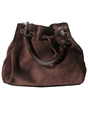 Draw String Hobo Pouch Suede Chocolate