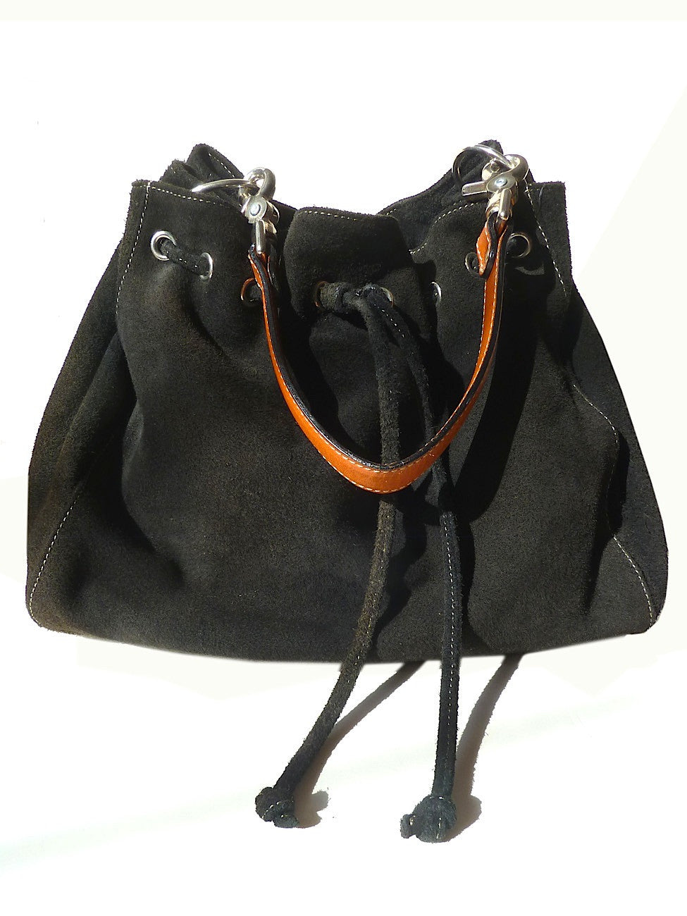 Draw String Hobo Pouch Suede Black