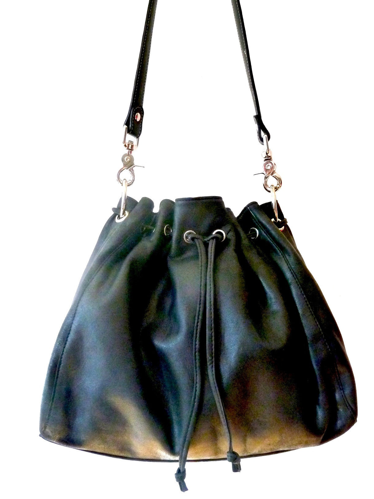 Draw String Hobo Pouch Bag In Black Butter Napa
