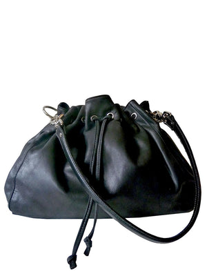 Drawstring Hobo Pouch Bag Napa Leather Grey Beige