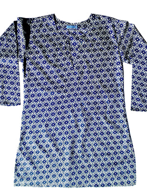 Raja Cotton Tunic Navy Cream Temari Block
