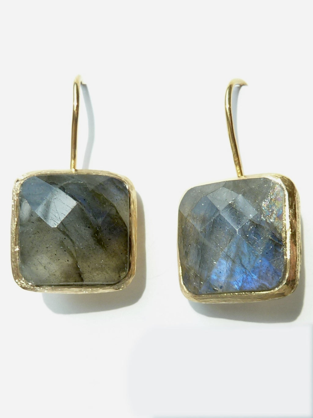 Earrings Faceted Square Labradorite