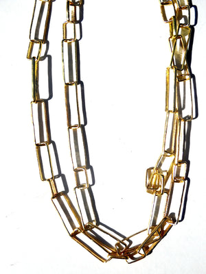 NECKLACE MODERNIST RECTANGLE LINK GOLD ON BRASS