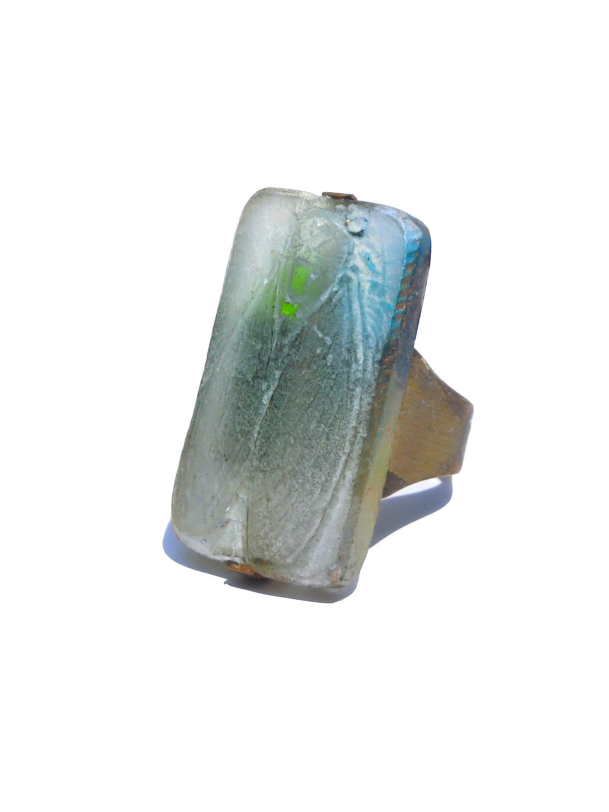 Ring Hand Cast French Glass Beetle Blue and Green