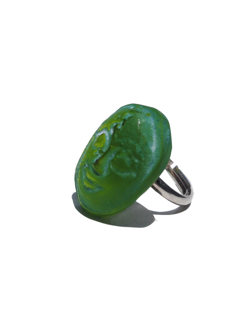 Ring Hand Cast French Glass Green Buddha