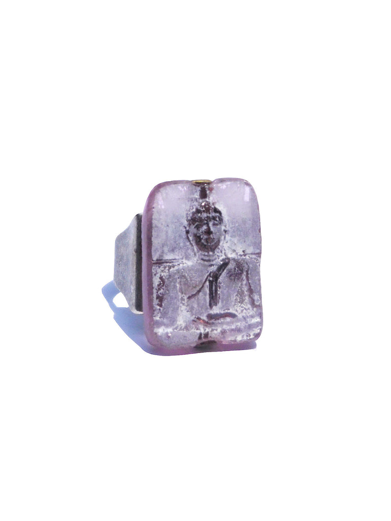 Ring Hand Cast French Glass Buddha Pink