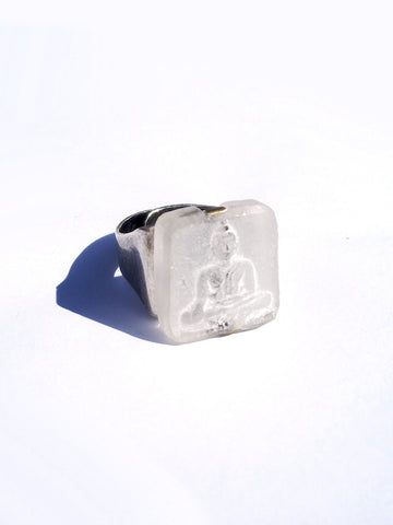 Ring Hand Cast French Glass White Buddha Square