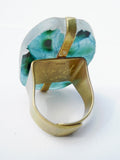 Ring Hand Cast French Glass Green Bug
