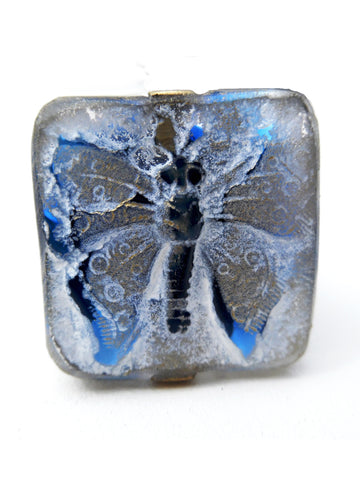 Ring Hand Cast French Glass Blue Gold Butterfly