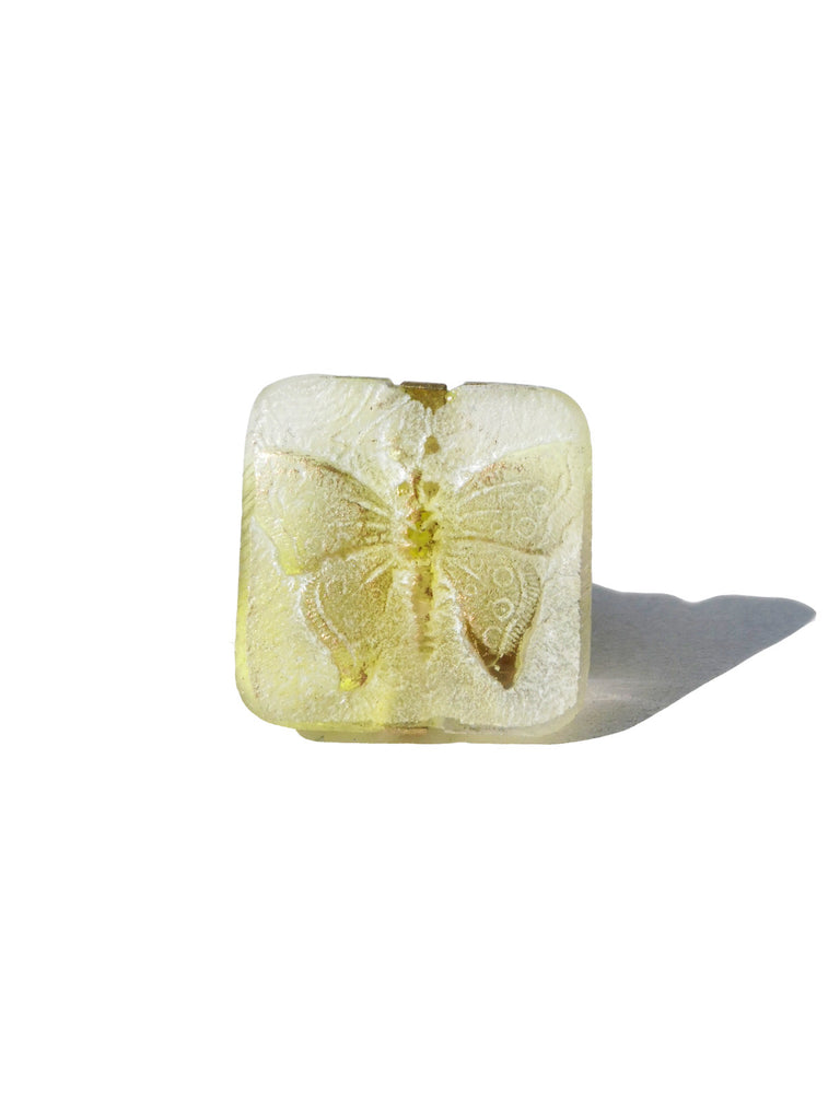 Ring Hand Cast French Glass Yellow Butterfly
