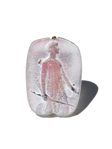 Ring Hand Cast French Glass Diana The Huntress Pink #2