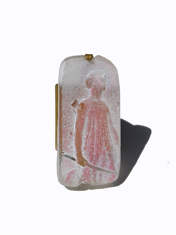 Ring Hand Cast French Glass Diana The Huntress Pink Oblong