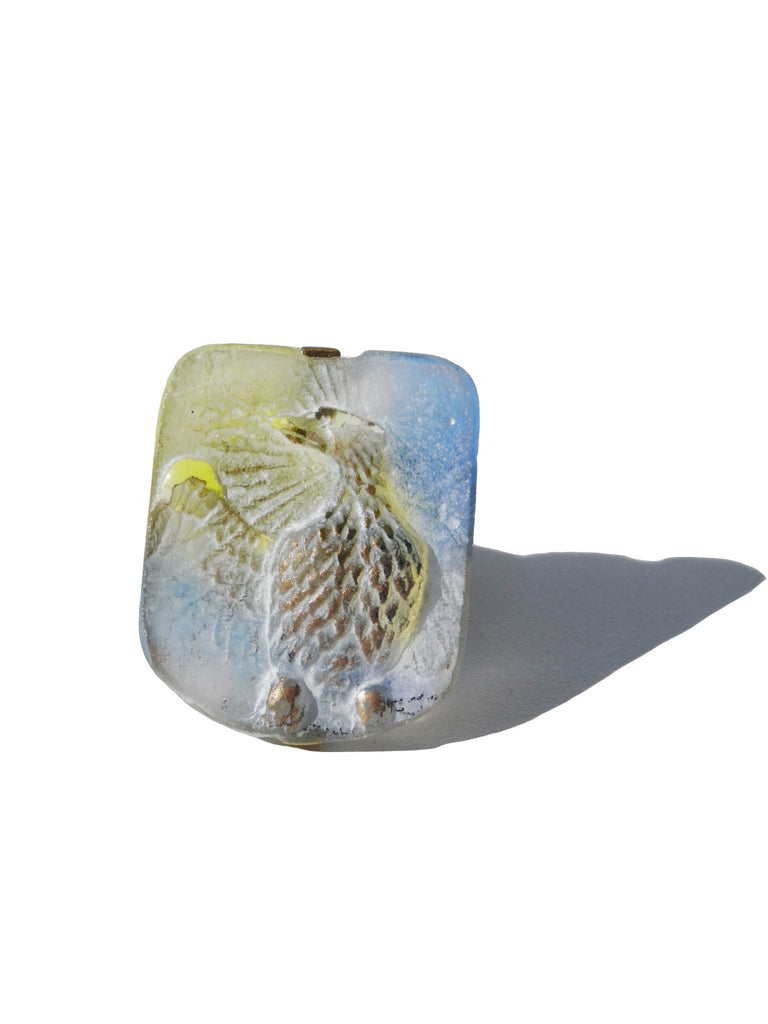 Ring Hand Cast French Glass Eagle Blue And Yellow