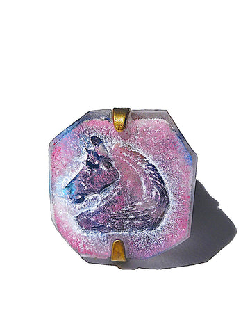 Ring Hand Cast French Glass Pink Blue Horse