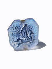 Ring Hand Cast French Glass Pegasus Horse Blue
