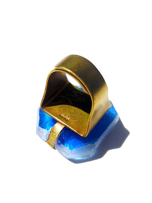 Ring Hand Cast French Glass Horse Blue Green #2