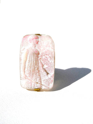 Ring Hand Cast French Glass Diana The Huntress Pink
