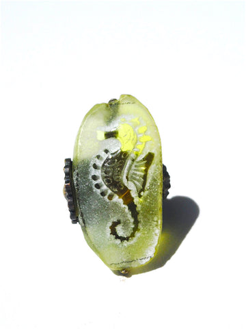 Ring Hand Cast French Glass Yellow Seahorse