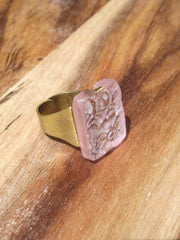 Ring Hand Cast French Glass Pink Flower