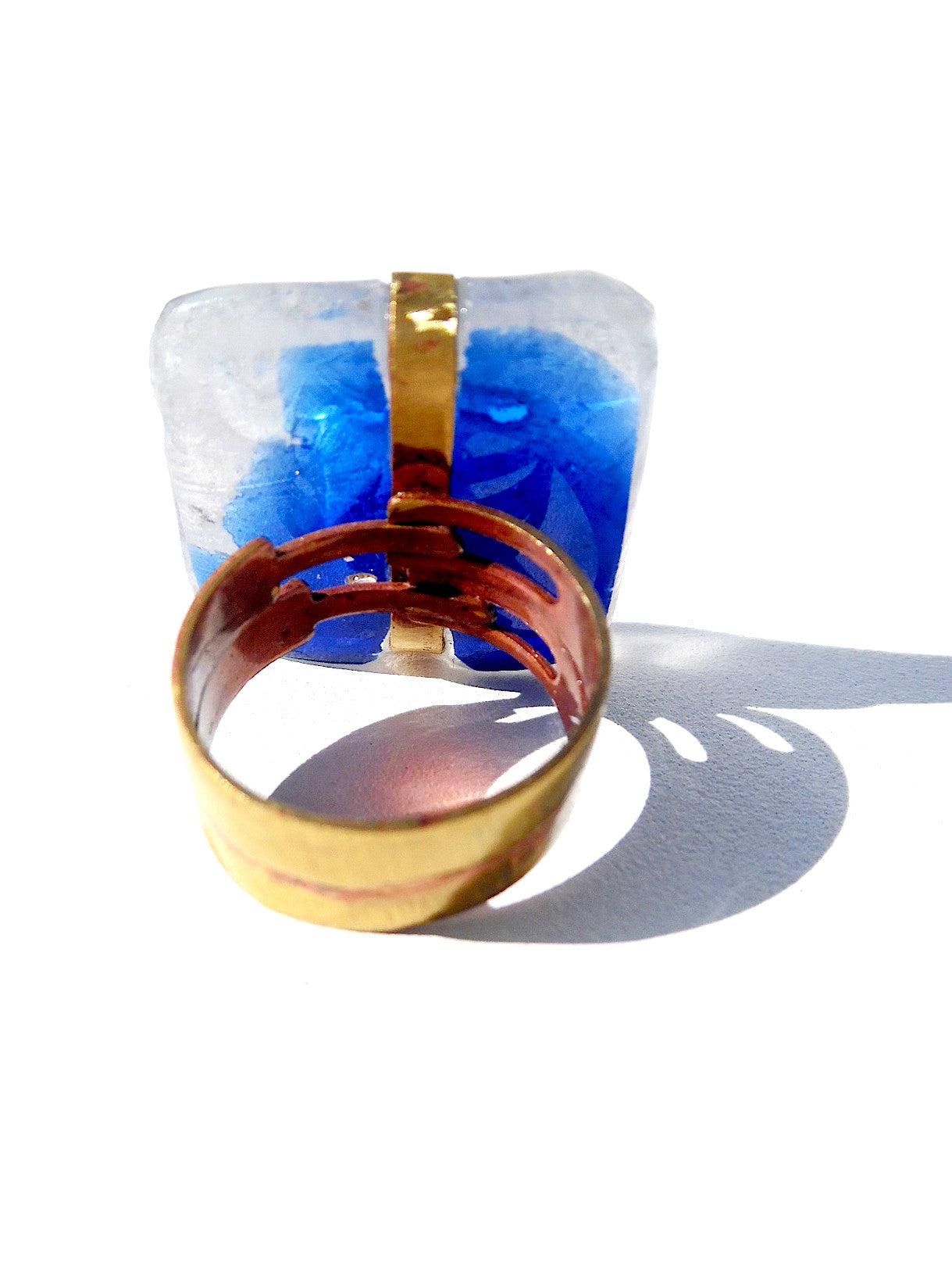 Ring Hand Cast French Glass Blue Warrior