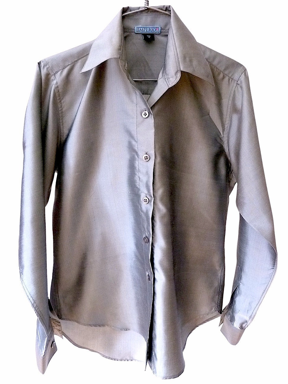 Thai Silk Button Down Shirt Silver