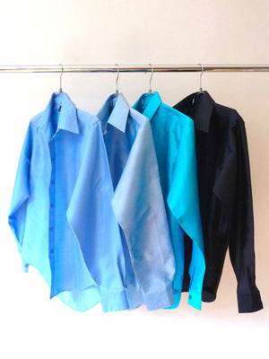 Thai Silk Button Down Shirt Assorted Blues