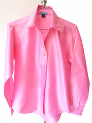 Thai Silk Button Down Shirt Candy Pink