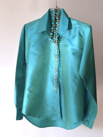 Thai Silk Button Down Shirt Blue Topaz