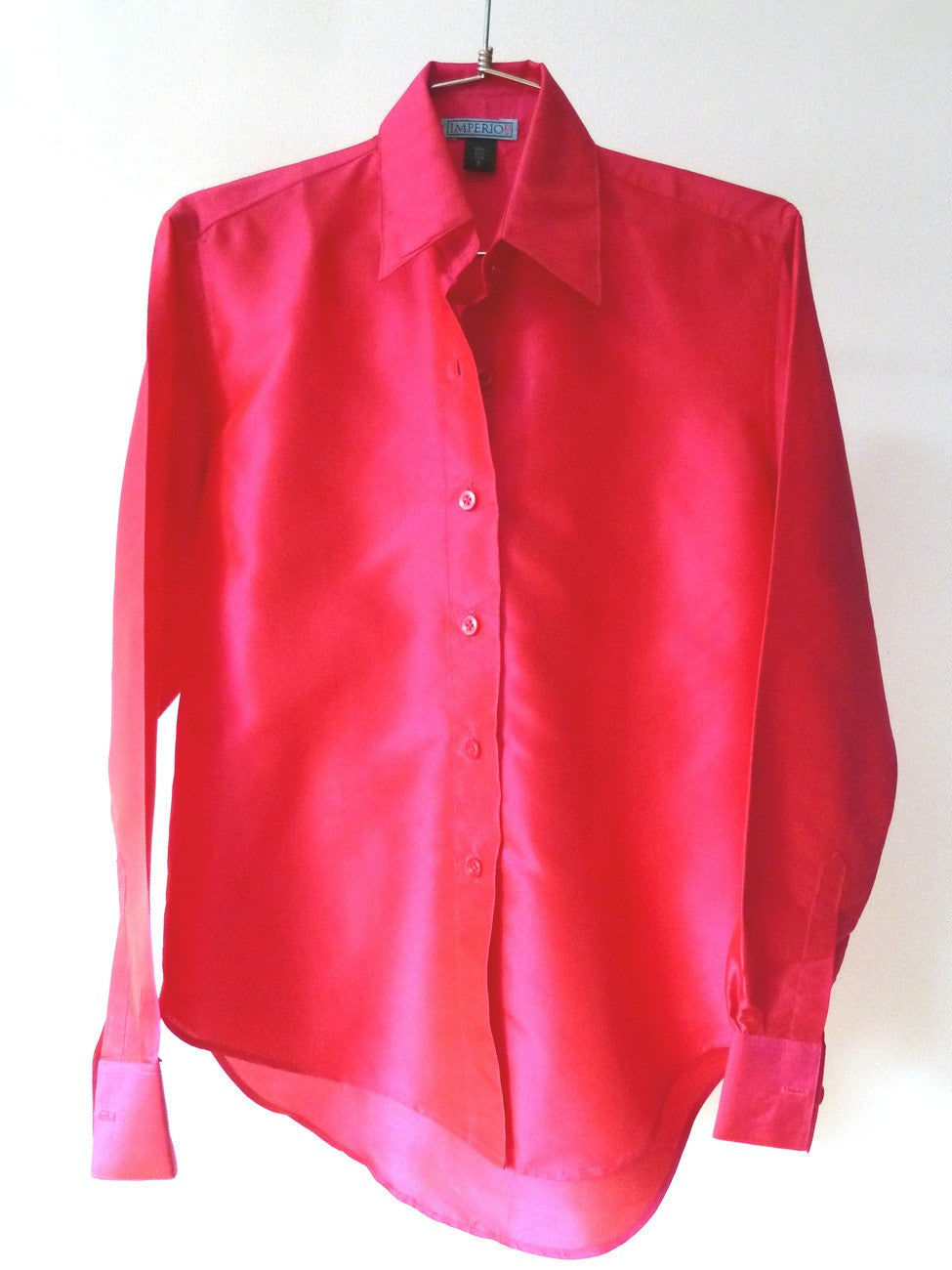 Thai Silk Button Down Shirt Fuchsia