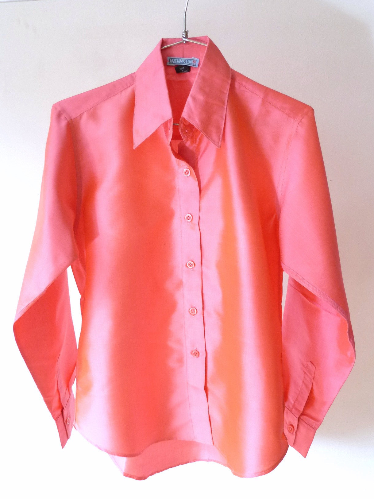 Thai Silk Button Down Shirt Salmon