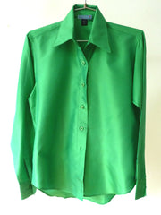Thai Silk Button Down Shirt Kelly Green