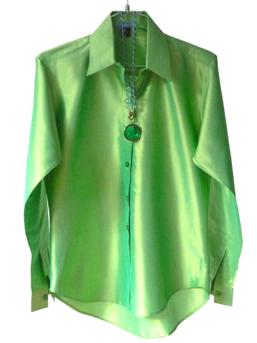 Thai Silk Button Down Shirt Peridot