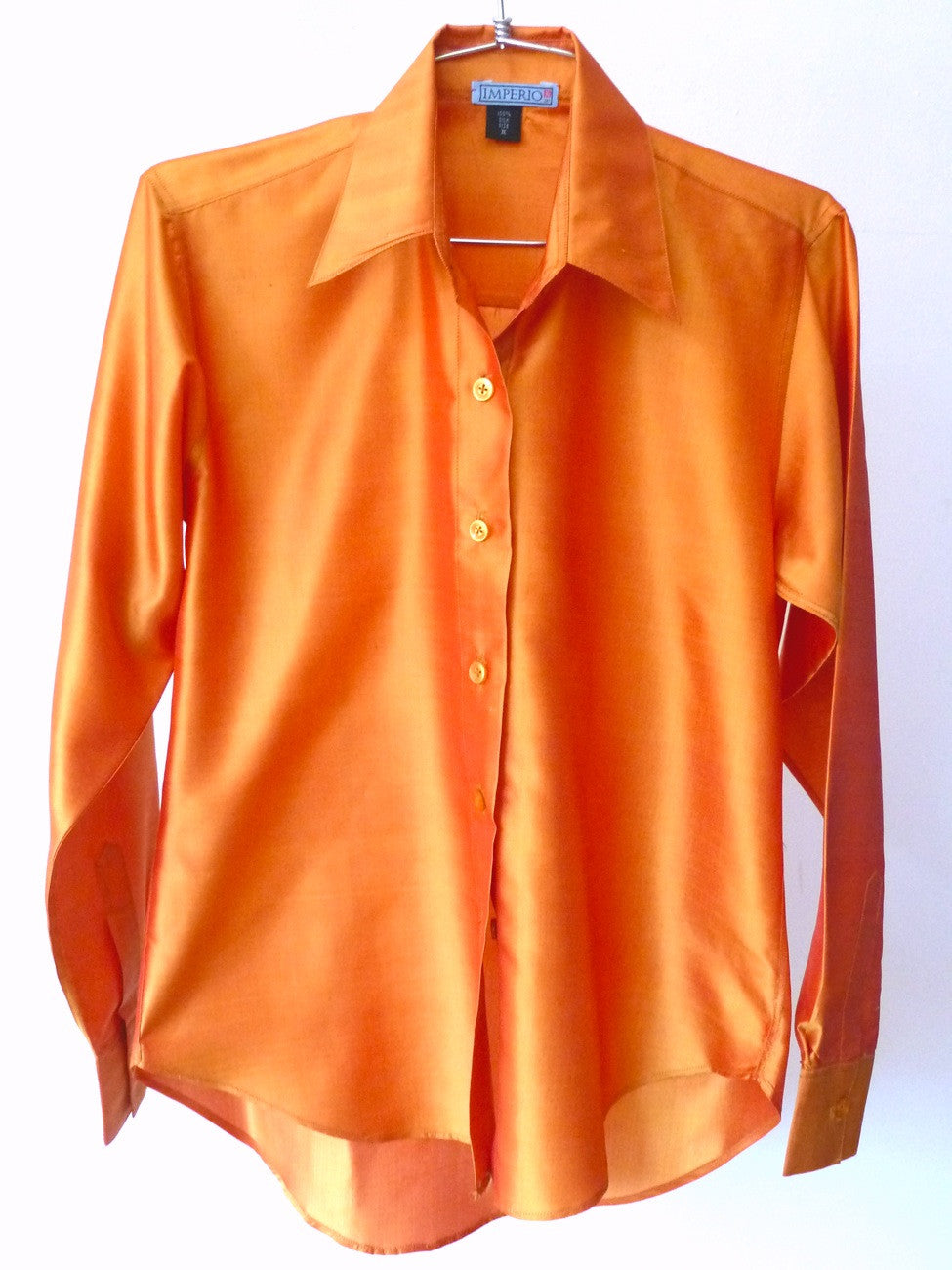 Thai Silk Button Down Shirt Tangerine