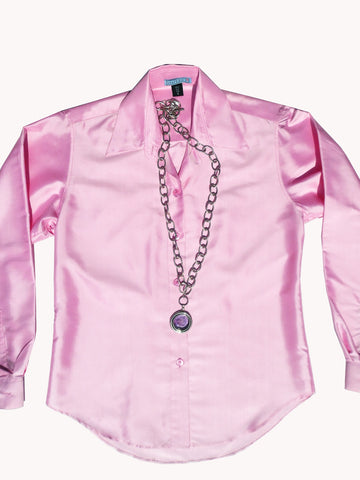 Thai Silk Button Down Shirt Think Pink