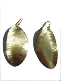 Earrings Hammered Leaf Gold On Brass