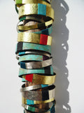 Bangles In Brass Patina And Alpaca Silver Linen Detail