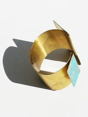 Cuff Bracelet Patina on Gold Plated Brass