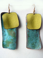 Earrings Dogtag In Patina And Copper Yellow And Burnt Orange
