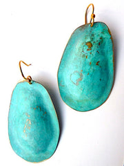 Earrings Large Drop In Patina Over Vermeil