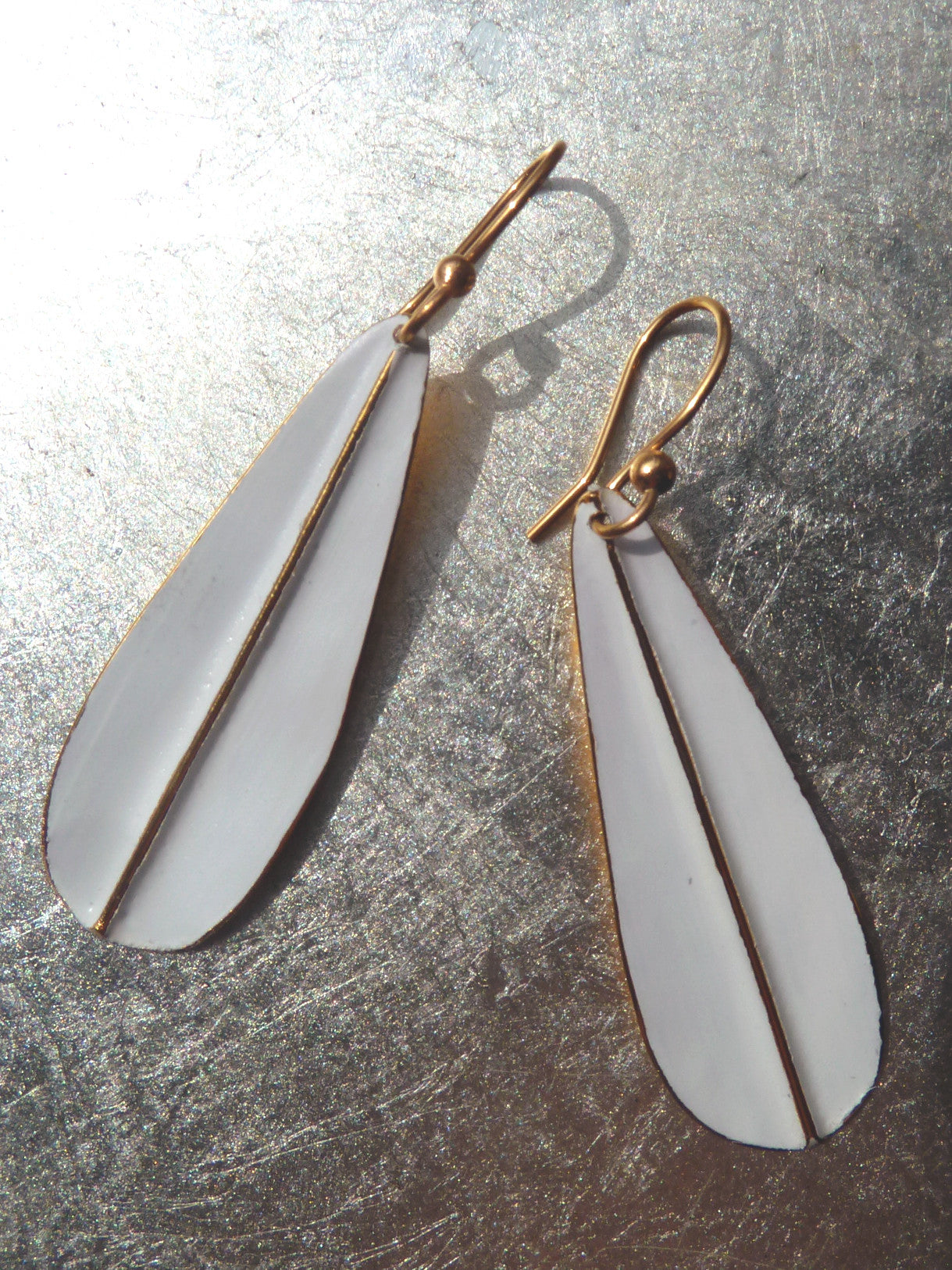 Earrings Leaf Design White On Vermeil Long Or Medium