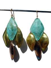 Earrings Diamond Mosaic Patina Gold Copper