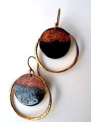 Earrings Medium Hoop Black Enamel By Sibilia