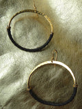 HOOP EARRINGS HAMMERED BRASS LEATHER SMALL LARGE