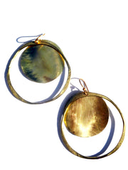 Earrings Hoop And Disc Gold On Brass