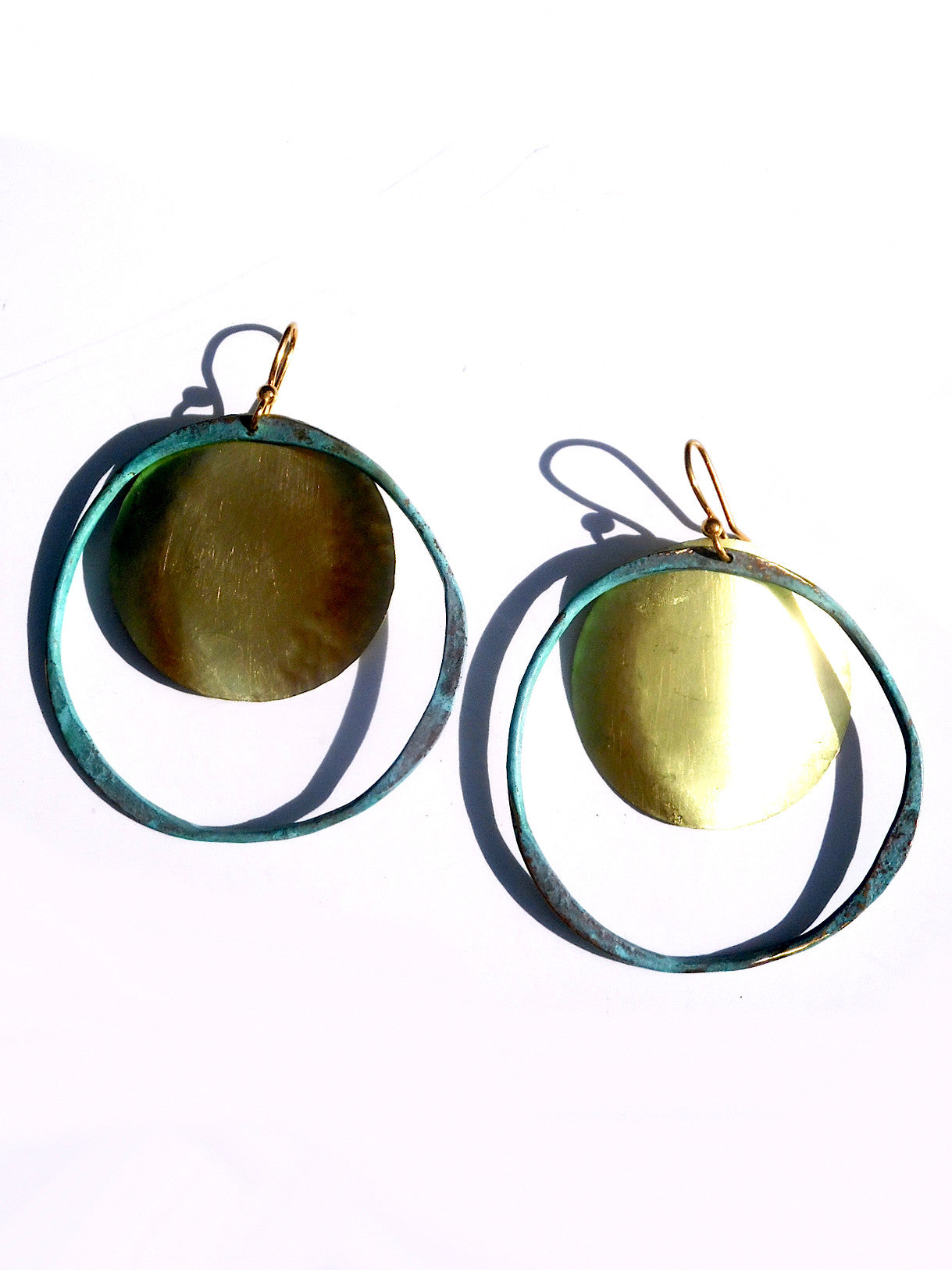 Earrings Hoop And Disc Patina And Gold On Brass